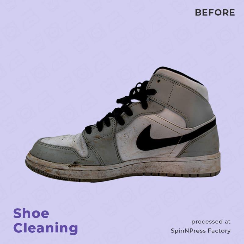 Image of before cleaning nike jordan grey