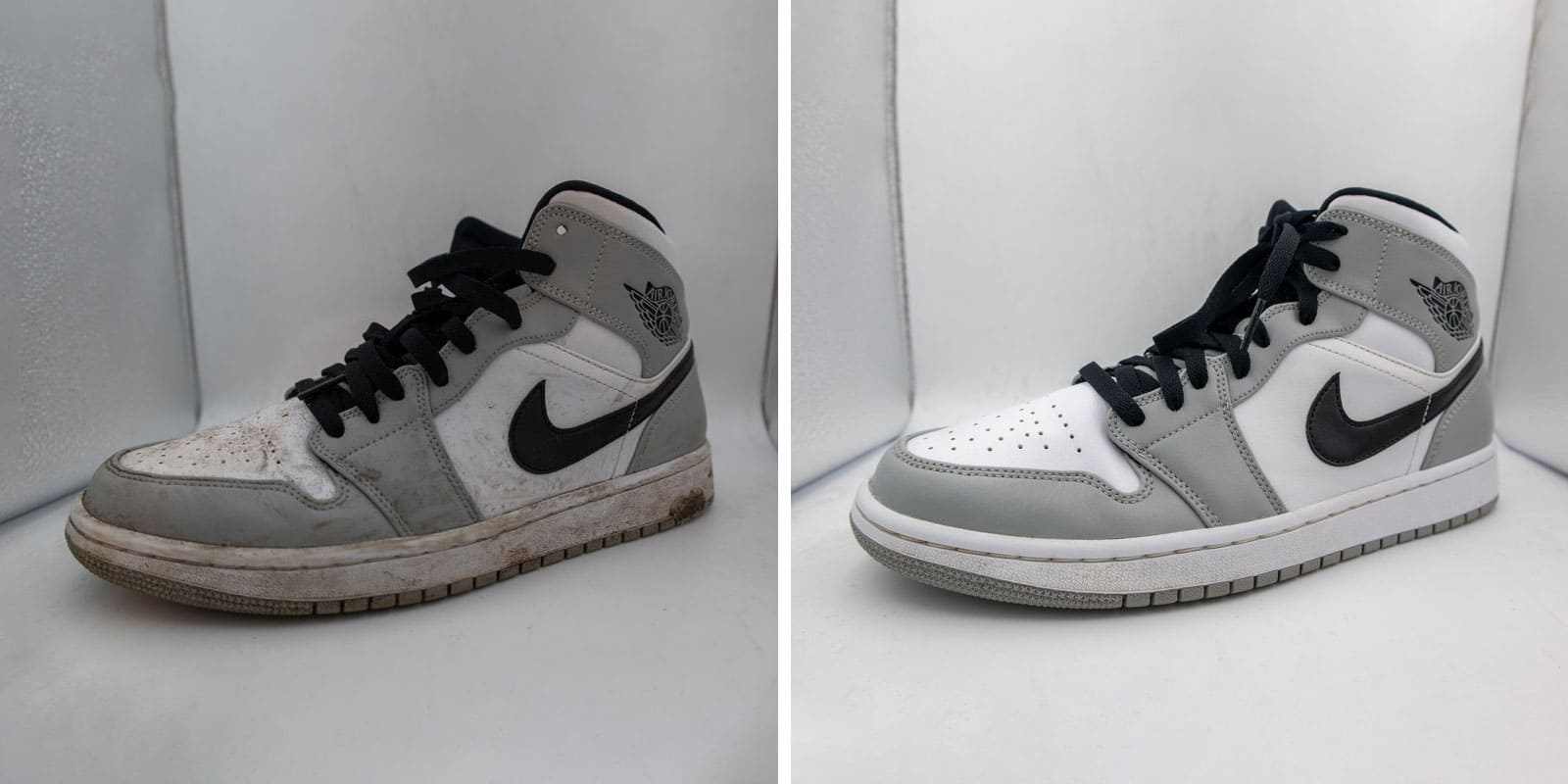 jordan grey shoe cleaning before after