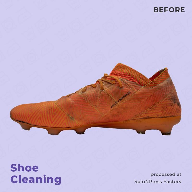 Image of before cleaning Adidas Nemeziz orange