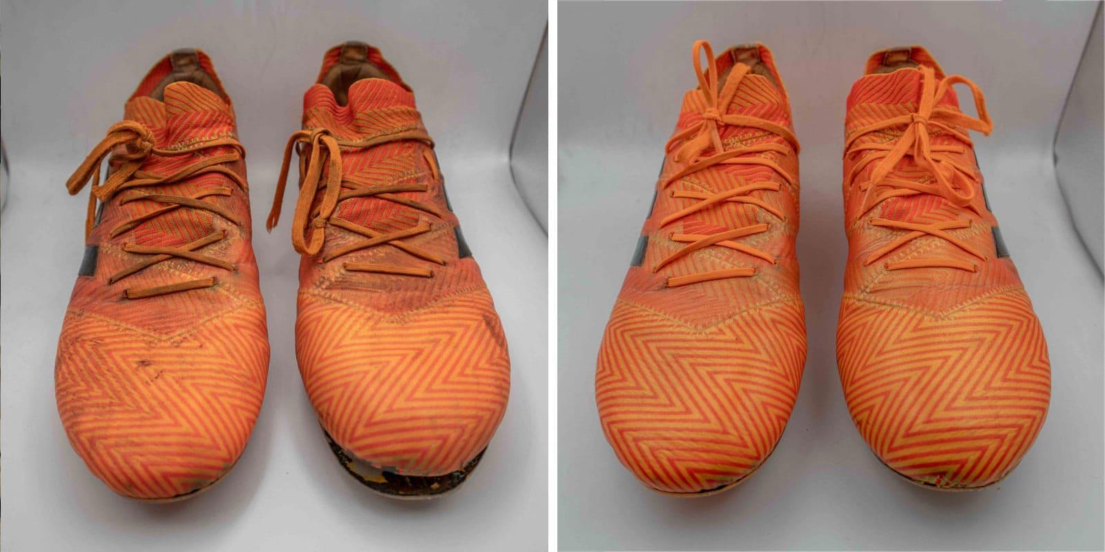 Image of before after cleaning Adidas Nemeziz orange